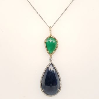 Picture of Blue & Green Sapphire Pendant