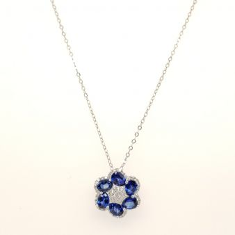 Picture of Blue Sapphire Flower Pendant