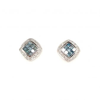 Picture of Blue Square Cut Earrings