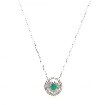 Picture of Round Emerald Center Diamond Pendant