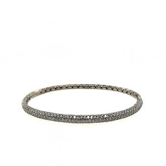 Hinged Black & Rhodium Plated Bangle