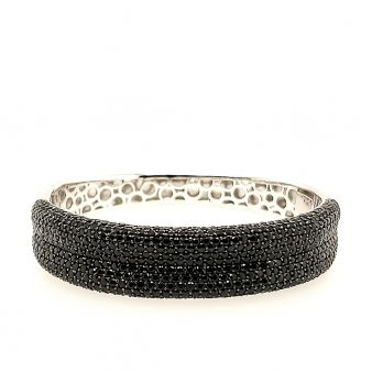 Picture of Black Wide Paved Hinged Bangle