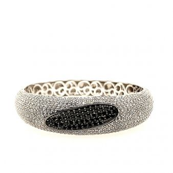 Picture of Wide Paved Bangle w/ Black Oval Center