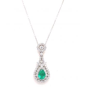 Pear-Shaped Emerald and Dimond Pendant