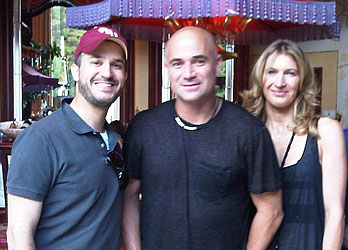 Tennis Legends Andre Agassi and Steffi Graf with Hillel Berkovits